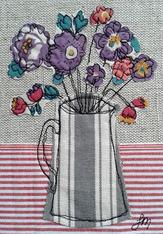 Purple Flowers In Jug  Machine Embroidery, Freehand -4746