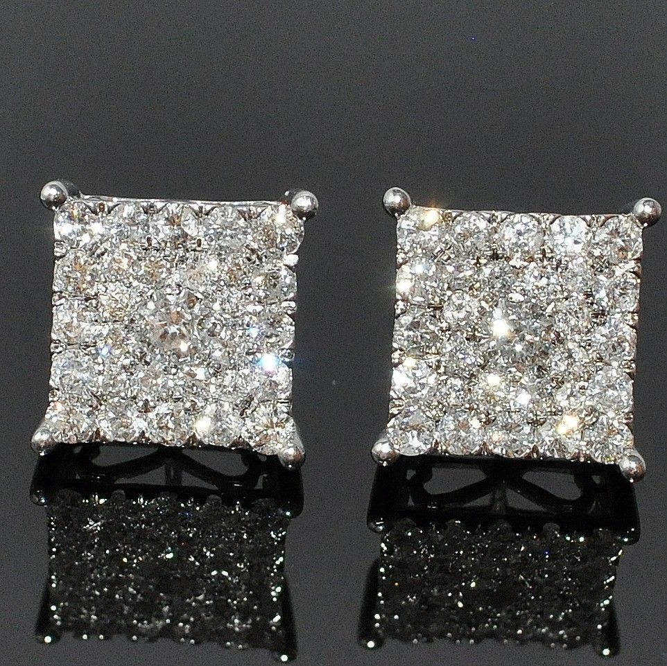 xl flat diamond big square pin men earrings hd mens stud for
