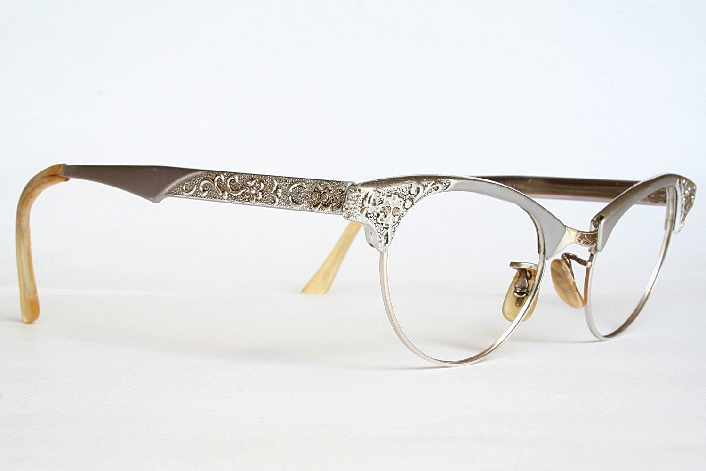 7a66921cc3 Artcraft Aluminum Filigree Cat Eye Glasses Sunglasses Frames with case