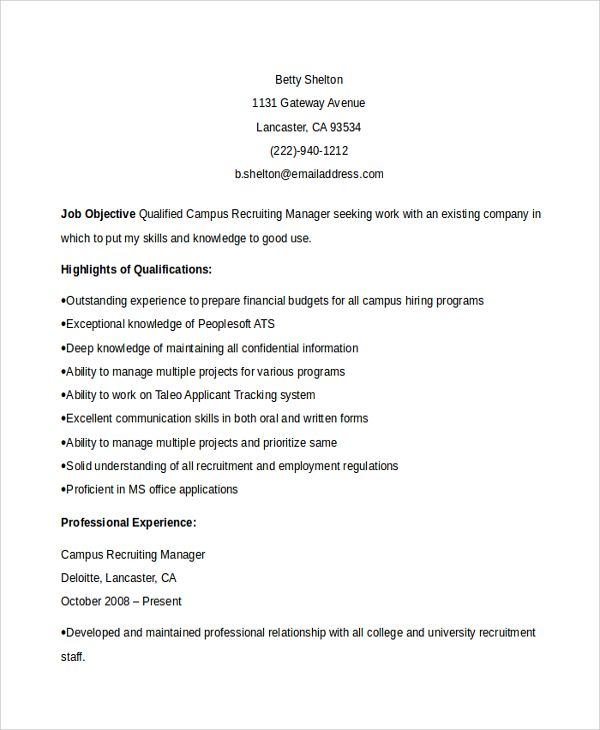 Sample Recruiting Manager Resume Template 6 Free Documents Download In Pdf Word Manager Resume Sample Resume Resume Format Examples