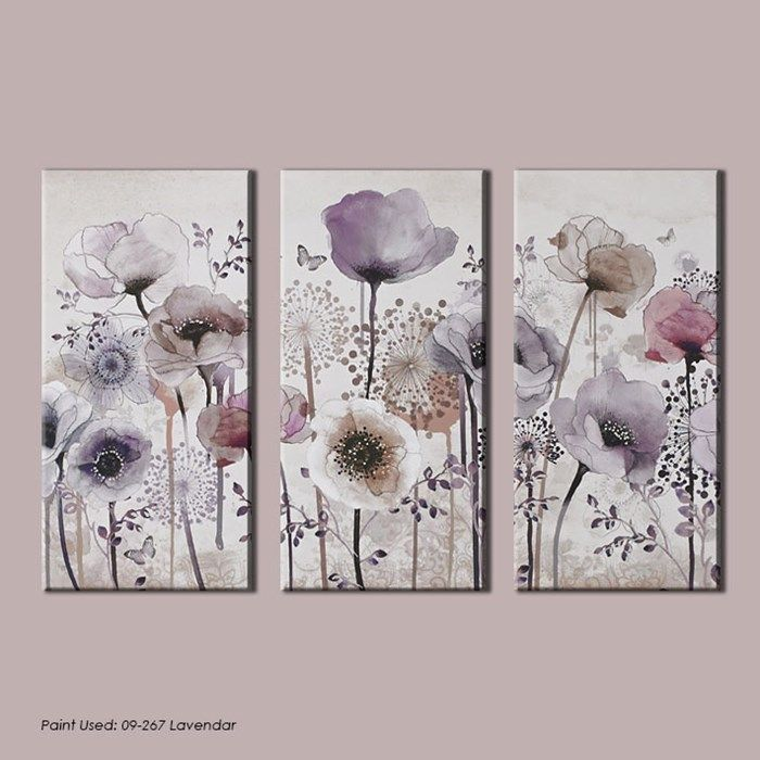 Classic poppy trio floral canvas purple flower wall art by graham brown