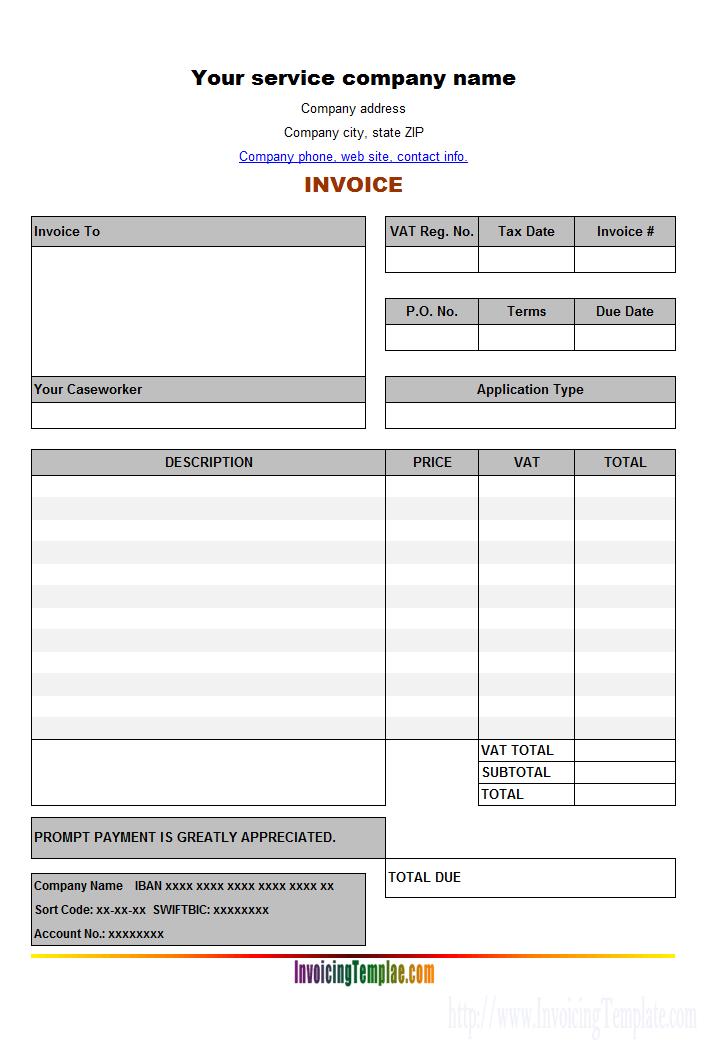 Service Vat Invoice Template Tradeimpex Pinterest Invoice