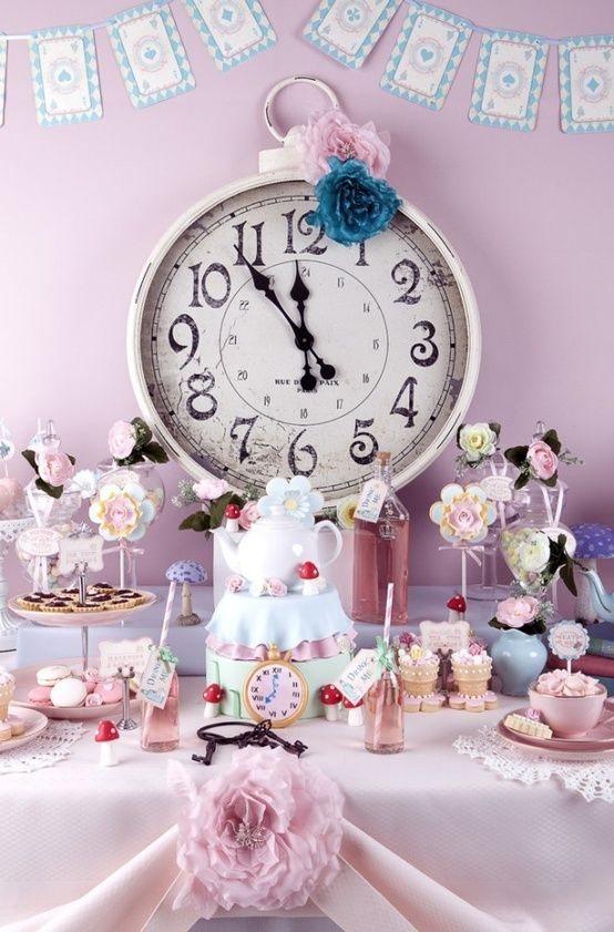 Cute idea for Alice in Wonderland tea party  Love the clock centrepiece. Maybe the op shop or $2 shop to hunt for one?
