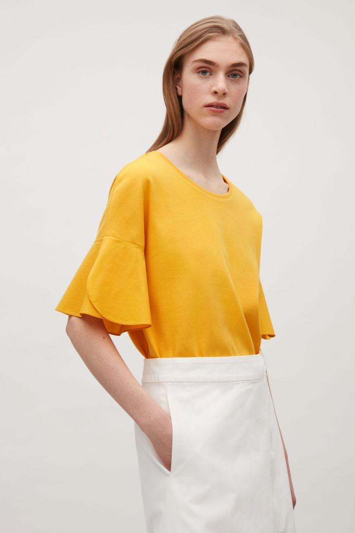 2bd9c69ad4 COS image 2 of Tulip sleeve T-shirt top in Yellow | Keep Moving ...