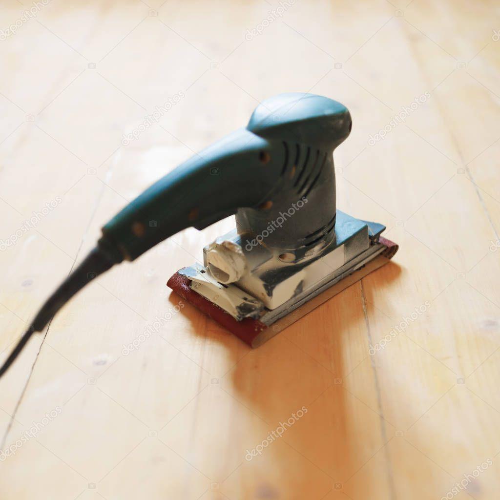Wooden Floor Sanding With Flat Sander Tool Stock Photo Spon