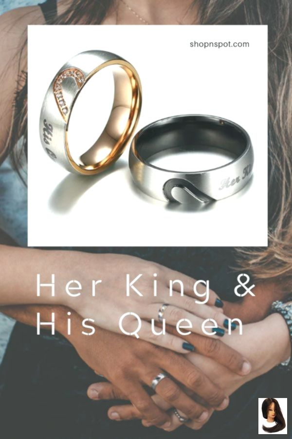 Couple Outfit products Her King & His Queen Couples Promise Ring - Stainless Steel Matching Set        couples promise rings boyfriends | couples promise rings matching set | couples promise rings unique | couples promise rings simple | couples promise rings cheap