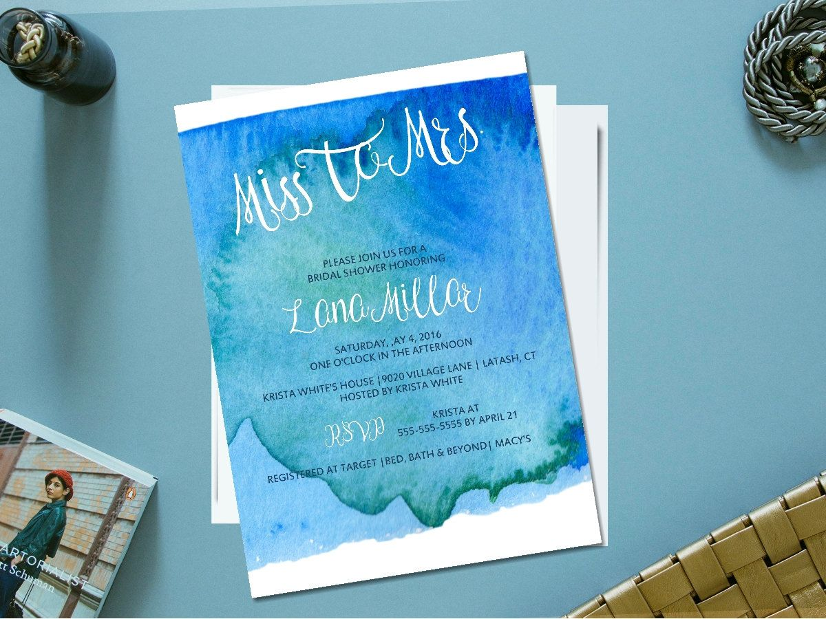 Printable watercolor bridal shower invitation/ something blue shower invitation