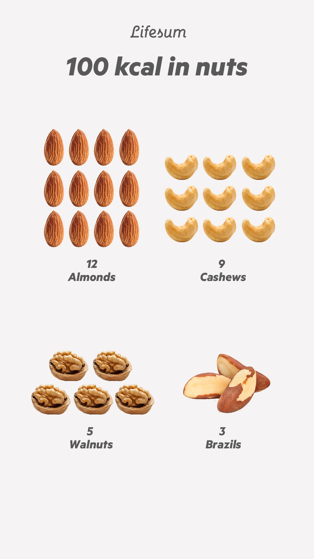 100 kcal in nuts