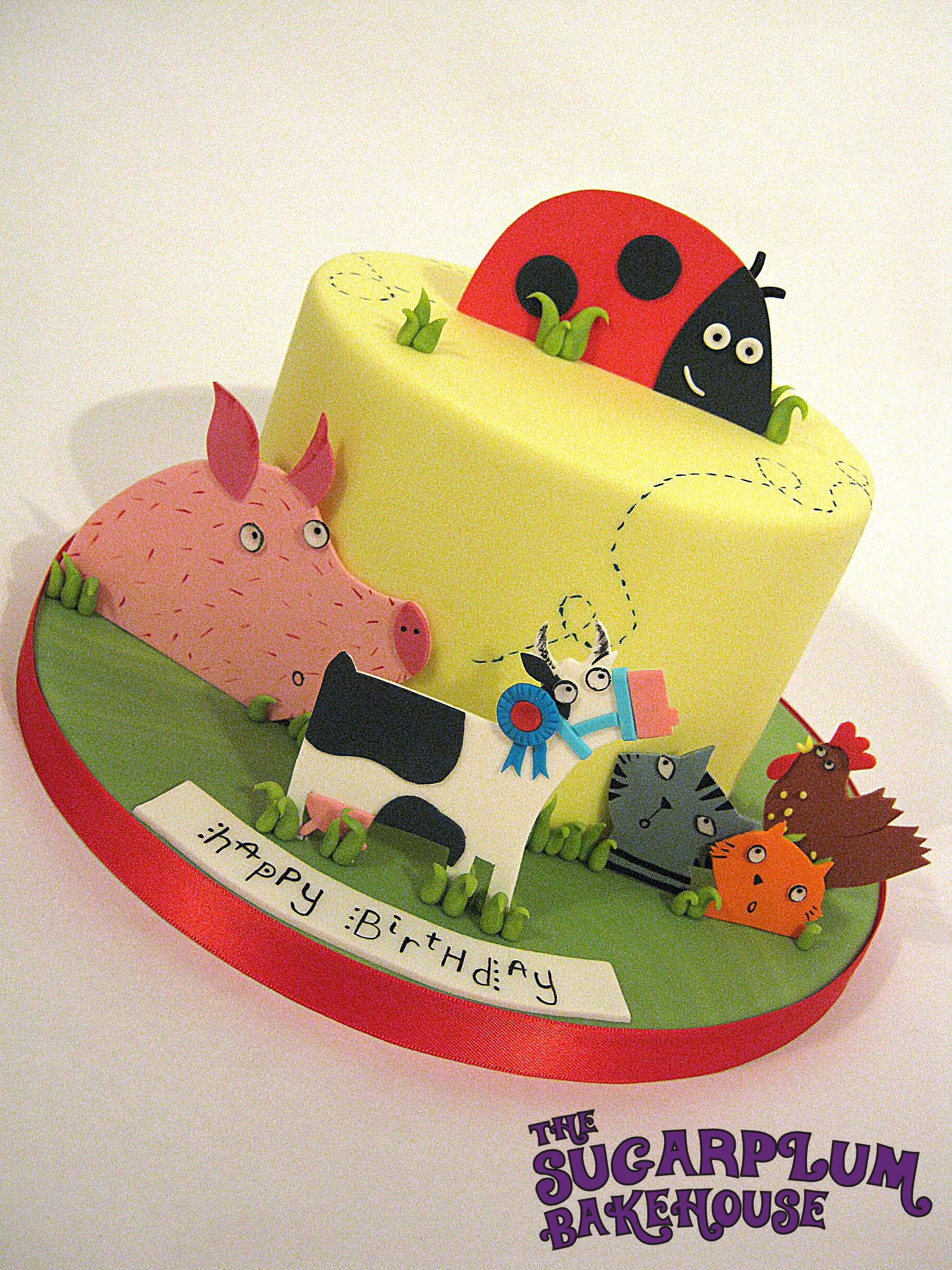 'What The Ladybird Heard' Birthday Cake - 'What The Ladybird Heard' Birthday Cake - Based on the book by Julia Donaldson. All the characters are hand cut from a gumpaste/fondant mix with hand painted details. All edible.
