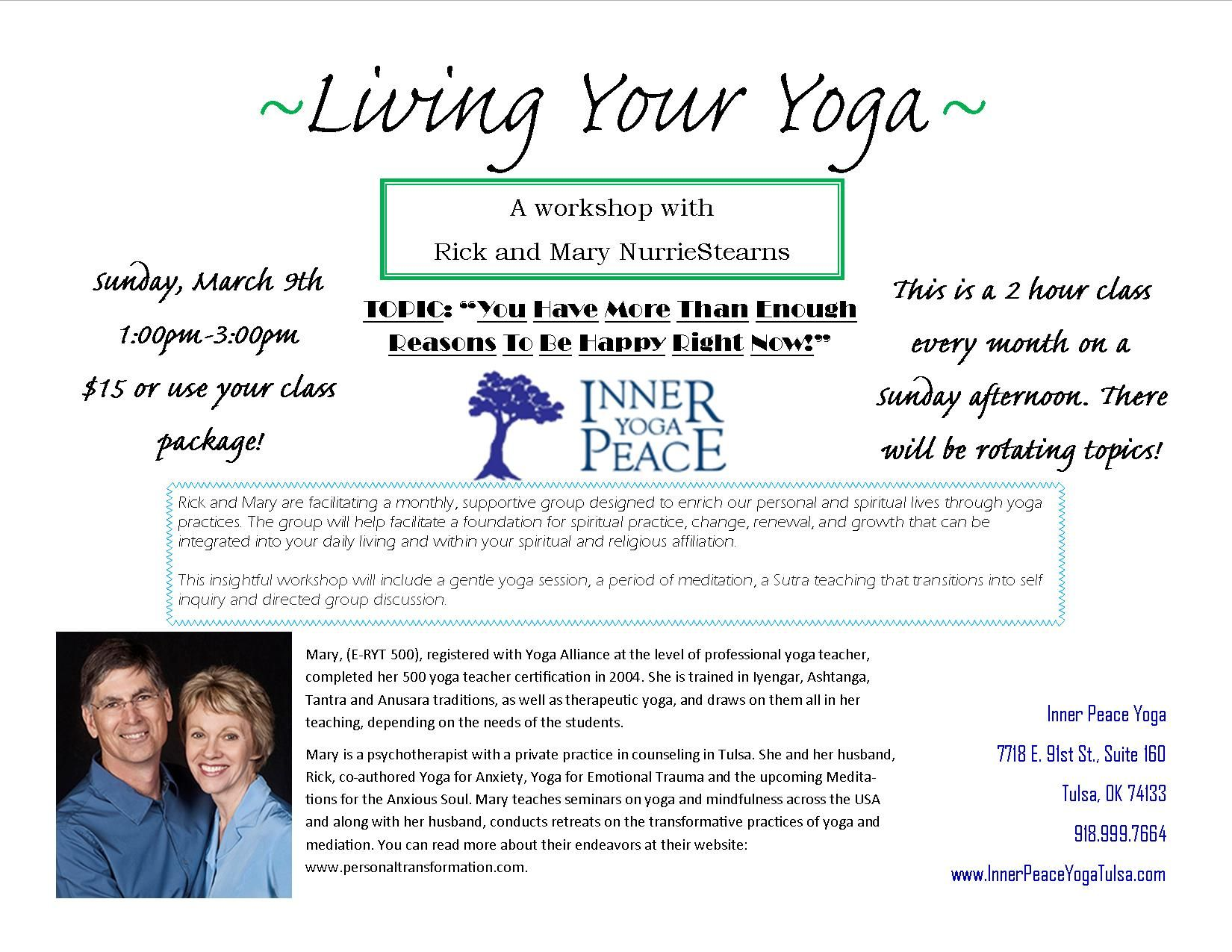 Sunday March 9th At Inner Peace Yoga In Tulsa Ok Reasons