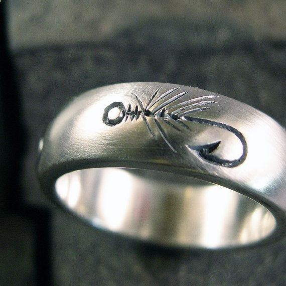 Fly fishing ring wedding band sterling by chris mueller for Fish hook wedding ring