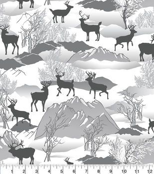 Snuggle Flannel Fabric 42''-Silhouette Deer Winter