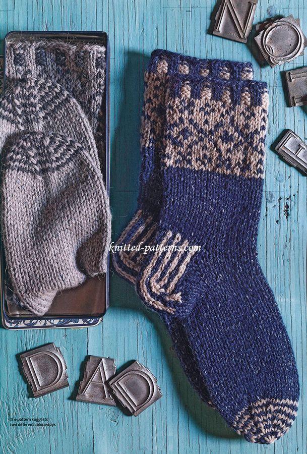 Men\'s socks free knitting pattern | knitting | Pinterest | Socks ...