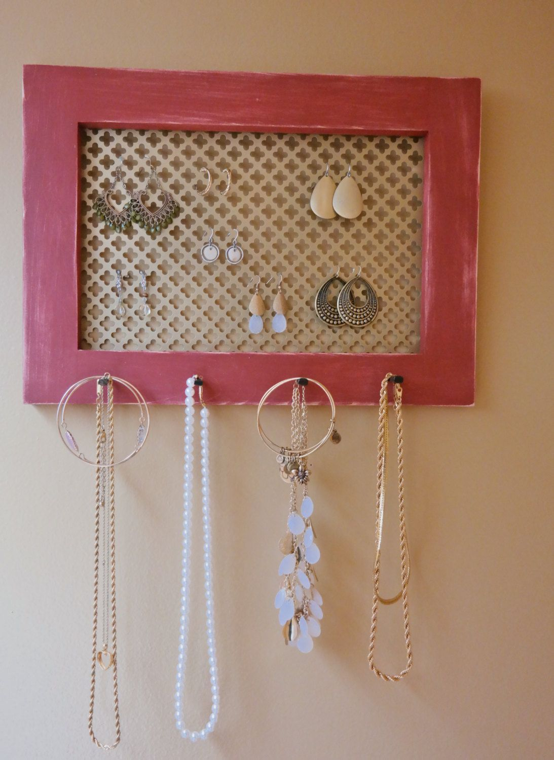 Stained Wall Mounted Jewelry Organizer Wall Organizer Jewelry