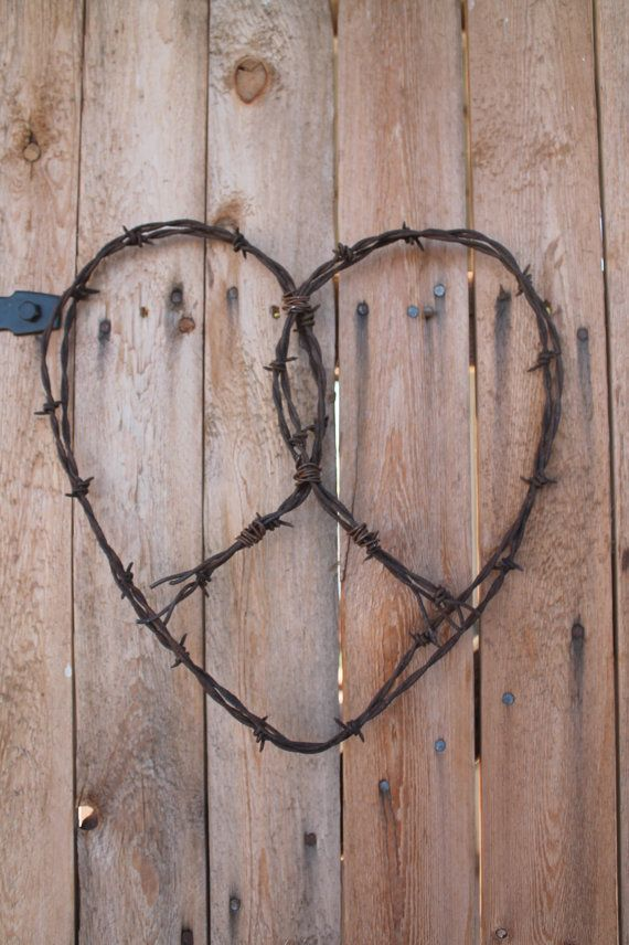 large barbed wire handmade heart wall decor   Recycle   Pinterest ...