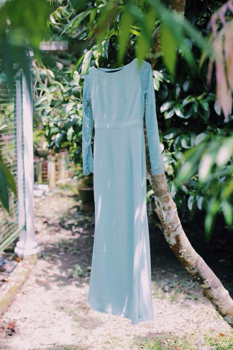 Dusty blue dress malay engagement by shikahdzowahir photo by amir