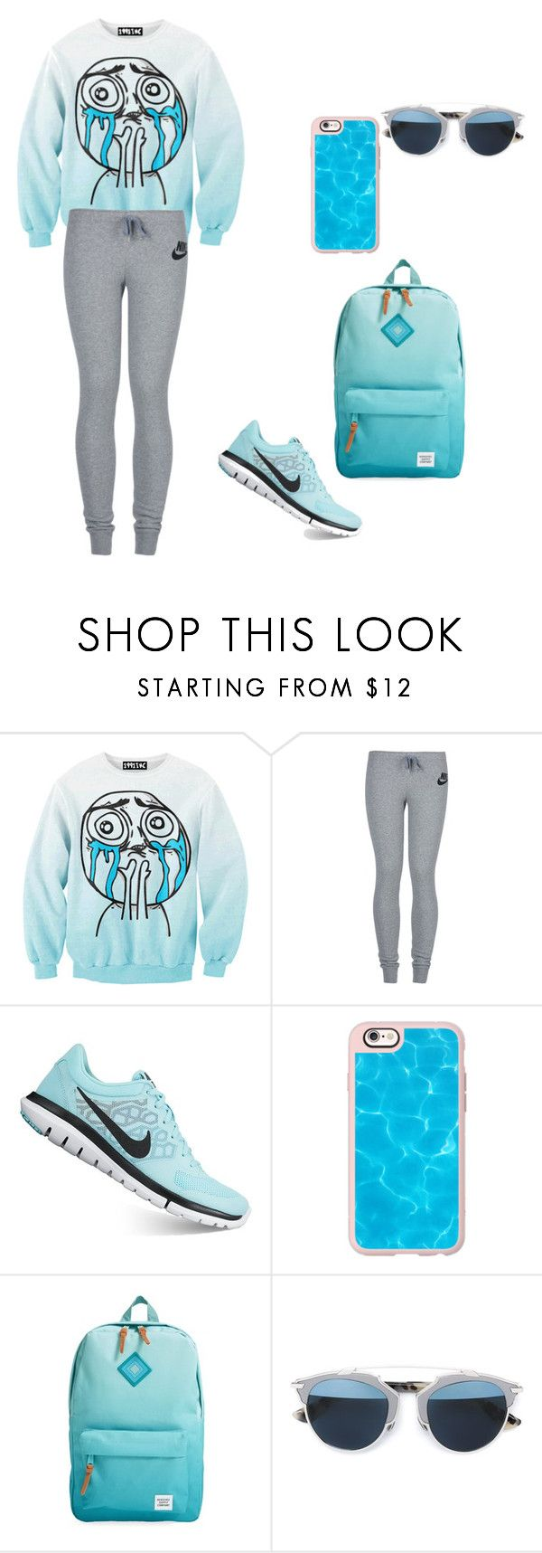 """""""Untitled #40"""" by fangirlinc on Polyvore featuring Chicnova Fashion, NIKE, Casetify, Herschel Supply Co. and Christian Dior"""