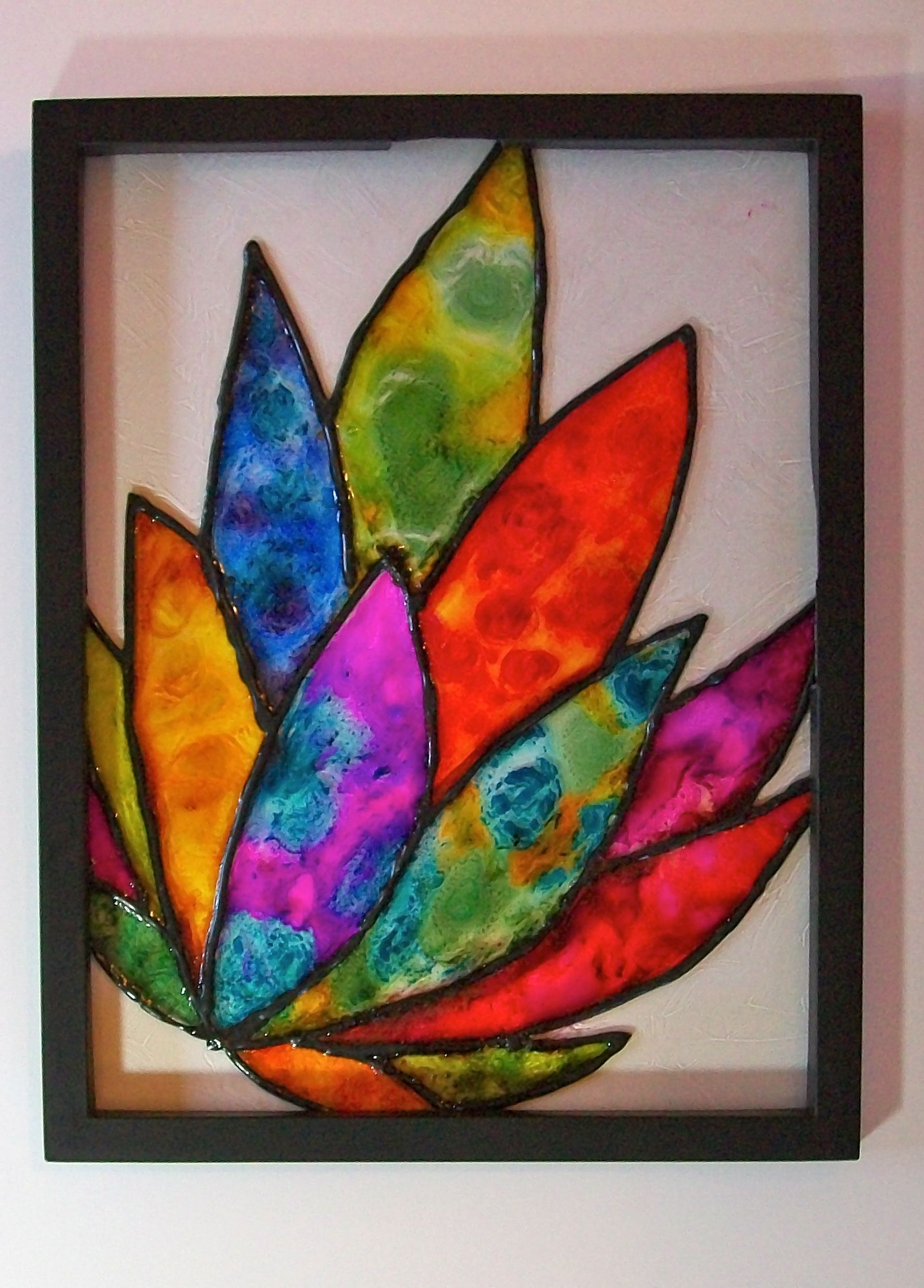New not stained glass technique my mixed media artwork for Glass painting techniques