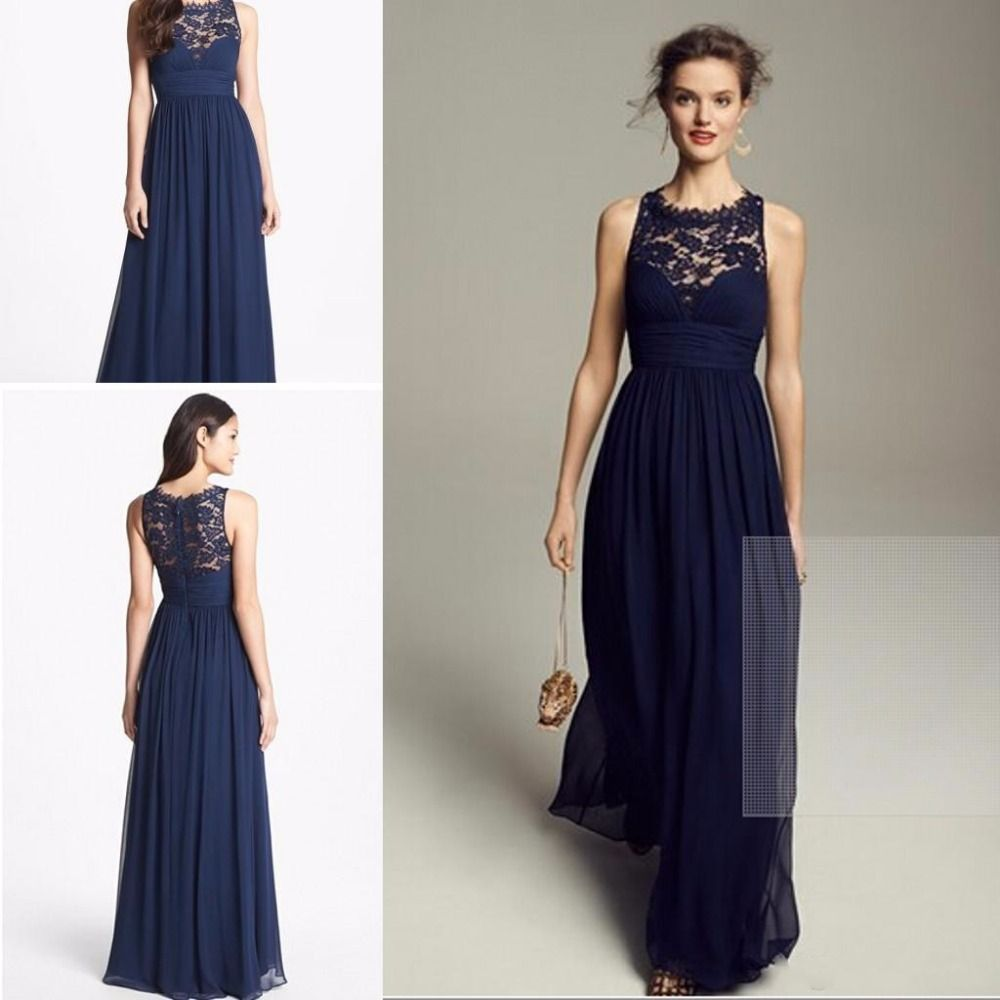2015 summer navy blue lace long bridesmaid dresses for for Blue wedding dresses plus size