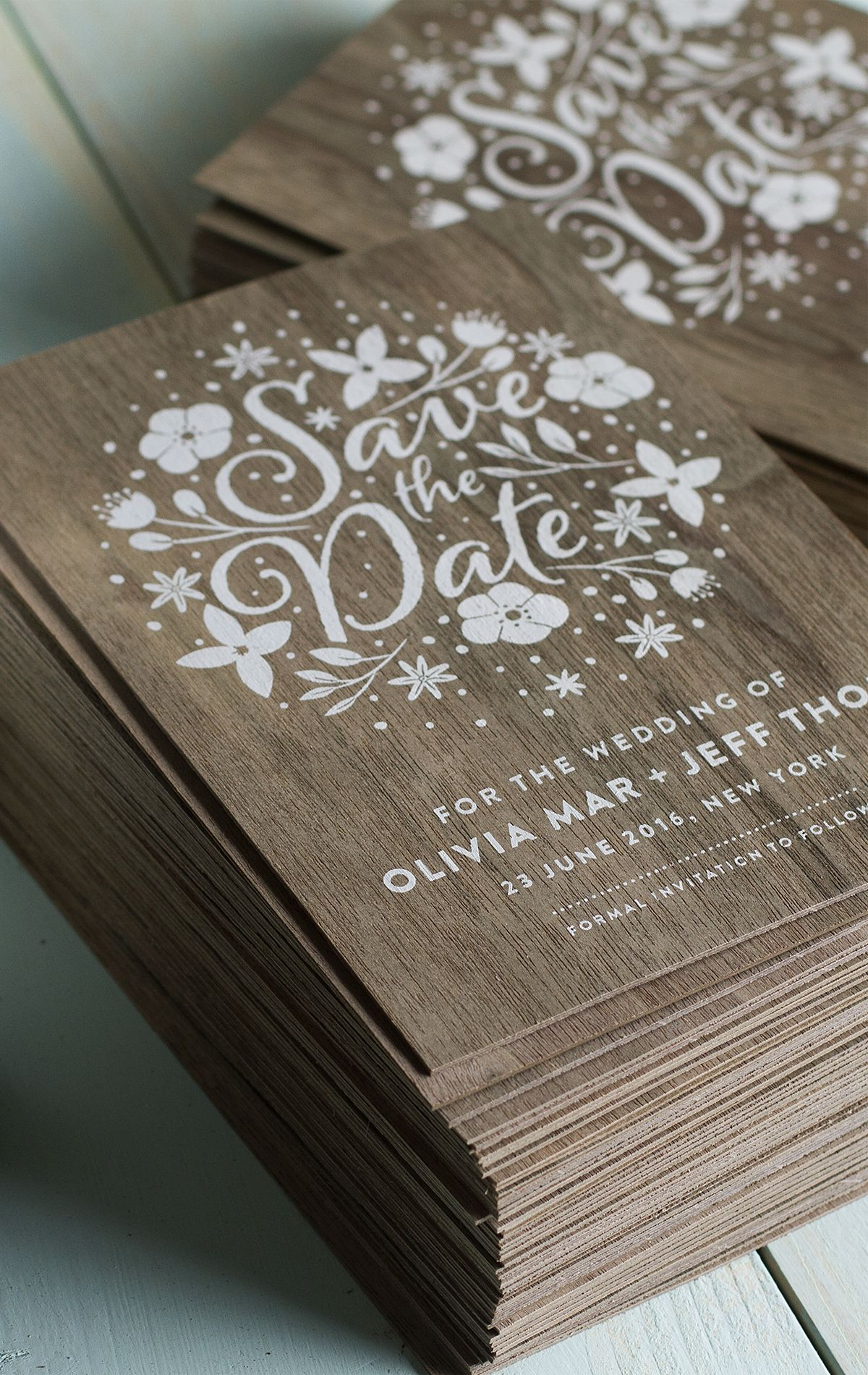 stunning wedding invites produced on real wood with white printing, Einladungen
