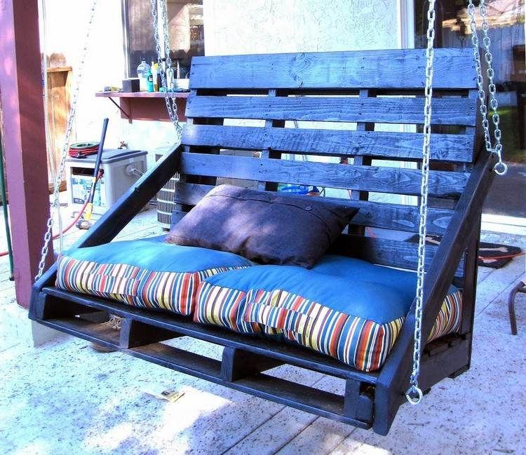 veranda schaukel mit hoher rückenlehne aus zwei holz paletten, Garten und Bauten