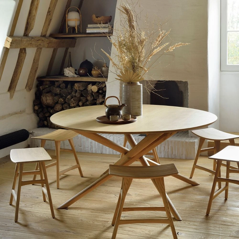 Ethnicraft Oak Mikado Dining Table Round In 2020 Round Dining
