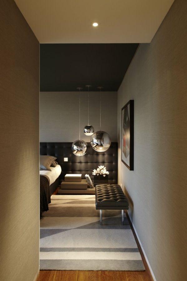 modern interiors, bedroom design, soft lighting, tom dixon pendants ...