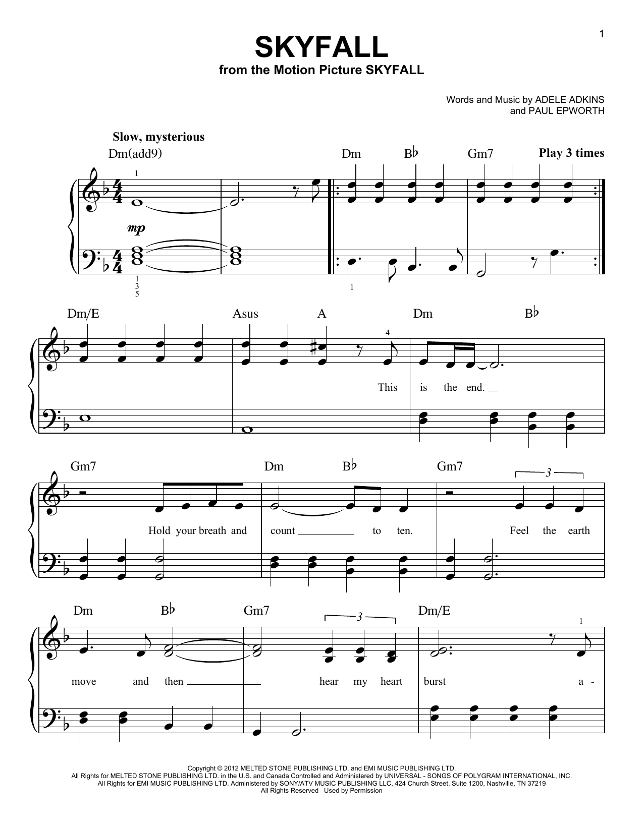 Adele Skyfall Sheet Music Notes Chords Download