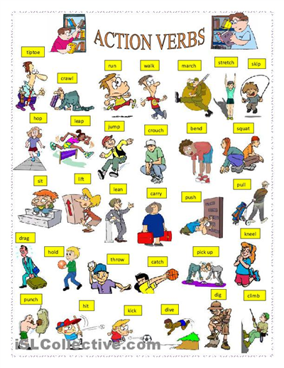 ACTION VERBS Worksheet - Free ESL Printable Worksheets Made By Teachers  Action Verbs, Action Verbs Worksheet, English Language Learning
