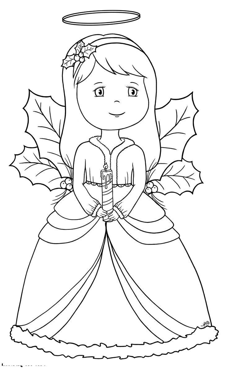 a beautiful little angel praying by bringing a candle at christmas night coloring night - Coloring Pages Beautiful Angels