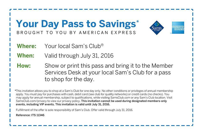 Sam S Club One Day Pass Sam S Club Saving Sam Day