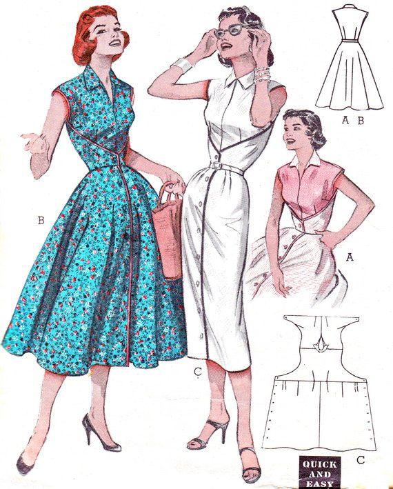 1950s Dress Pattern Butterick 6836 Full or Slim Skirt Day or Evening ...