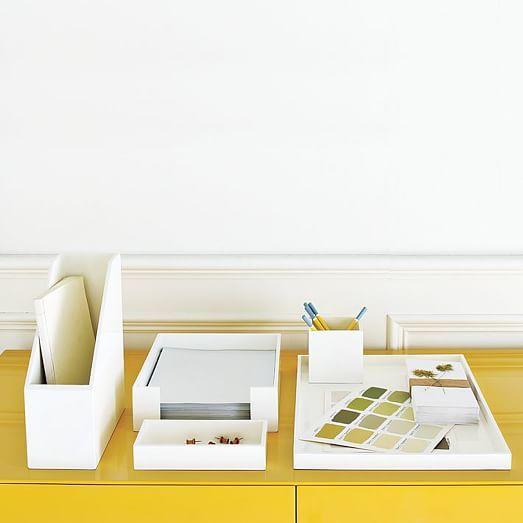 Lacquer Office Accessories White Lacquer Desk Desk Organizer