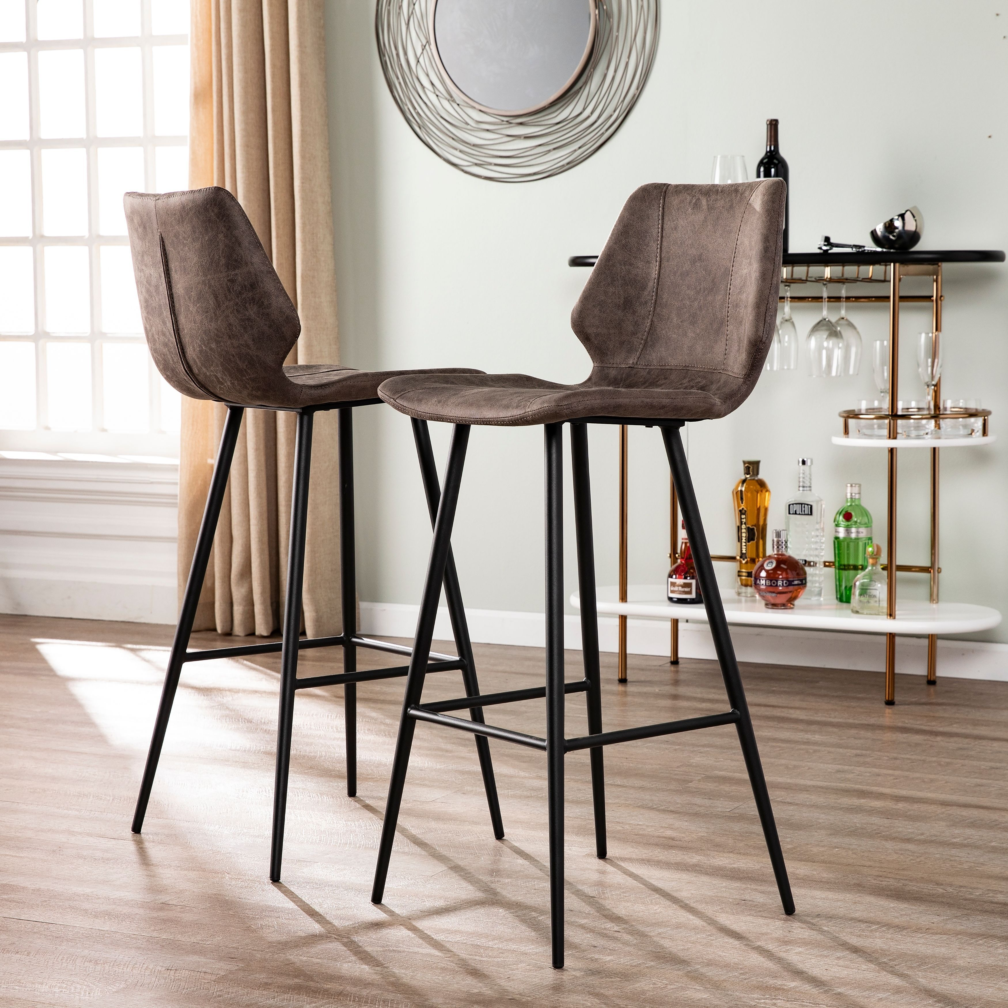 Brilliant Carbon Loft Samuel Faux Leather Barstools Set Of 2 Cjindustries Chair Design For Home Cjindustriesco