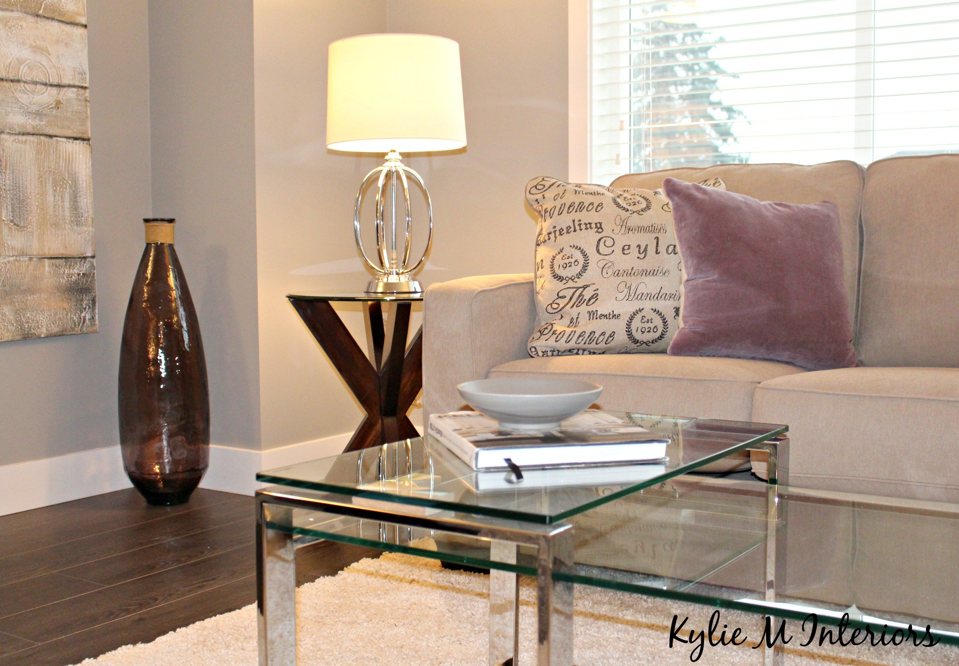 End of hallway ideas  home staging ideas for living room with gray paint chrome and glass