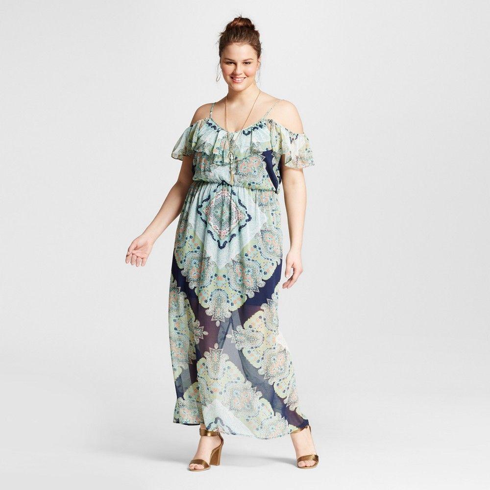 Womenus plus size printed maxi dress navy x lily star blue
