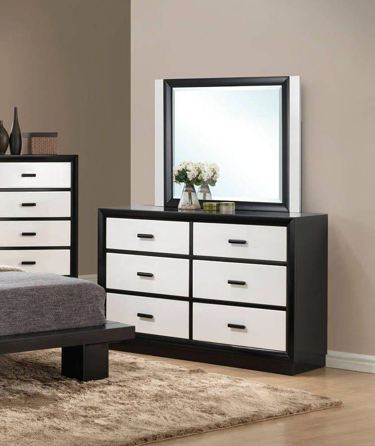 Debora Modern Black White Wood Glass Dresser   Brown Living ...