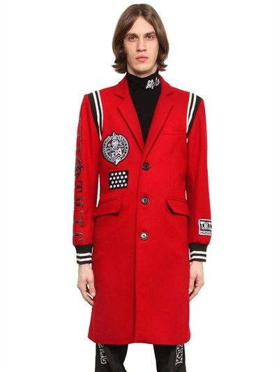 KTZ Varsity Style Wool Coat With Patches, Red. #ktz #cloth #coats
