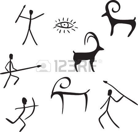 Vector Primitive Figures Looks Like Cave Painting Vector Illustration Cave Paintings Cave Drawings Prehistoric Cave Paintings