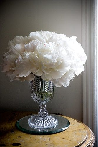 Beautiful tall glass vase and white peonies. !
