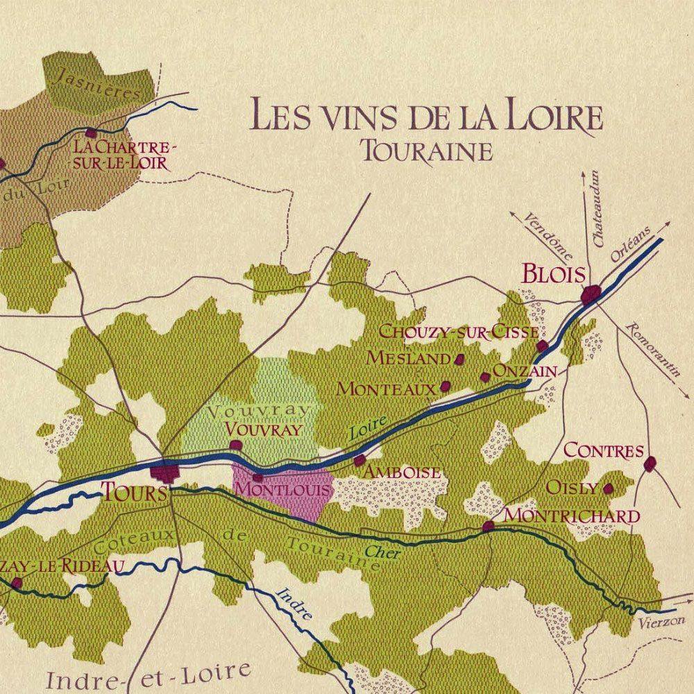 RESERVED1969 France Wine Map Vintage Loire Valley Touraine to