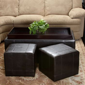 Drake 3 Piece Bonded Leather Ottoman Set Leather Ottoman Leather Storage Ottoman Brown Leather Ottoman