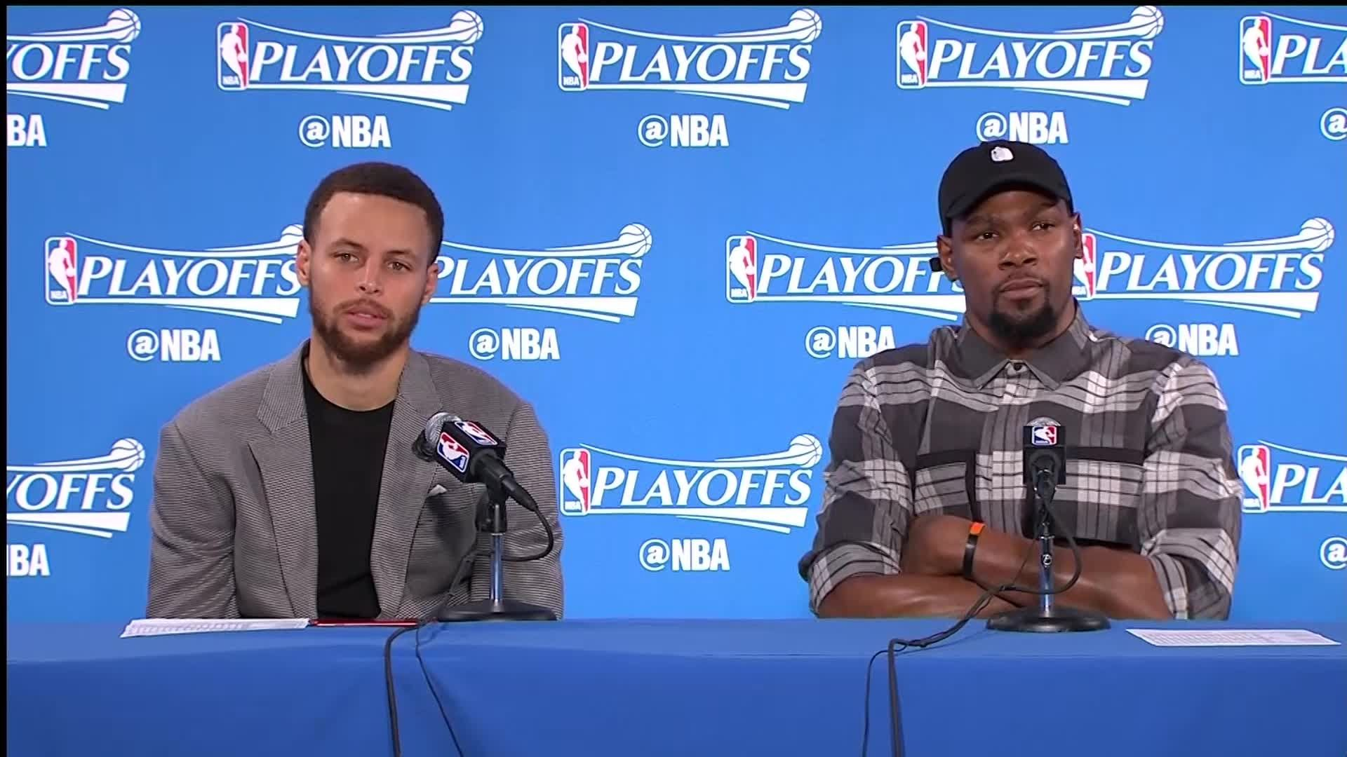 Raw Video Stephen Curry, Kevin Durant Share Podium