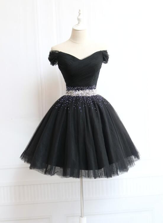 Lovely Off Shoulder Navy Blue Beaded Homecoming Dr