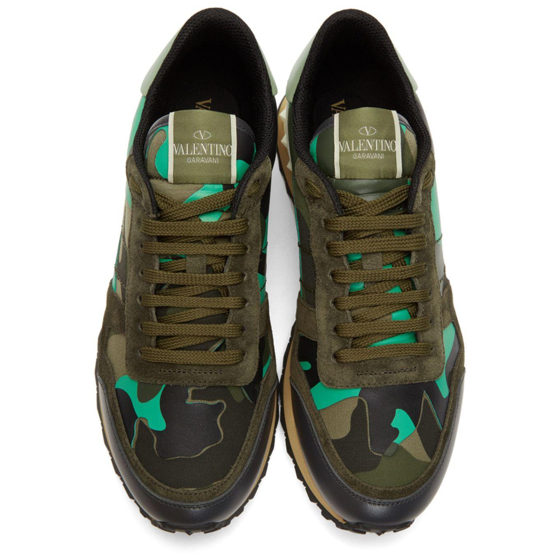Valentino Green & Black Valentino Garavani Camo Rockrunner Sneakers teqOsP