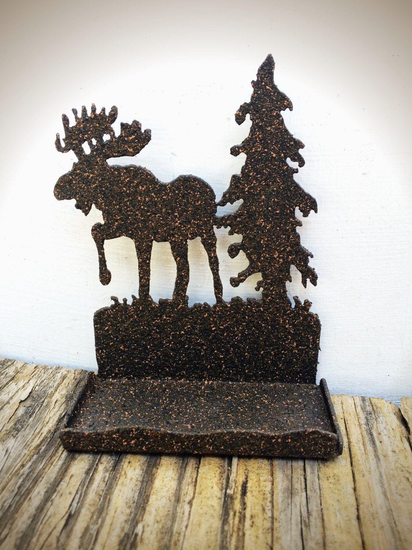 BOLD textured stone finish moose & tree business card holder ...