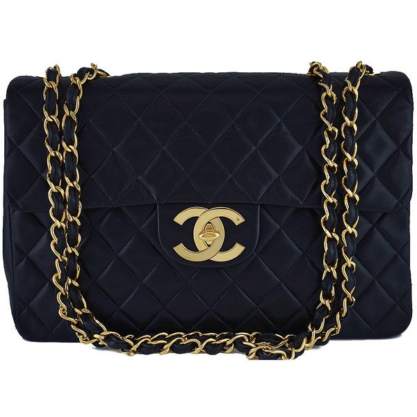 Pre-Owned Chanel Black Vintage Maxi Jumbo XL Classic Lambskin Flap Bag (10.775 BRL) ❤ liked on Polyvore featuring bags, handbags, black, chain strap handbag, quilted chain purse, chain strap purse, oversized purses and vintage purses