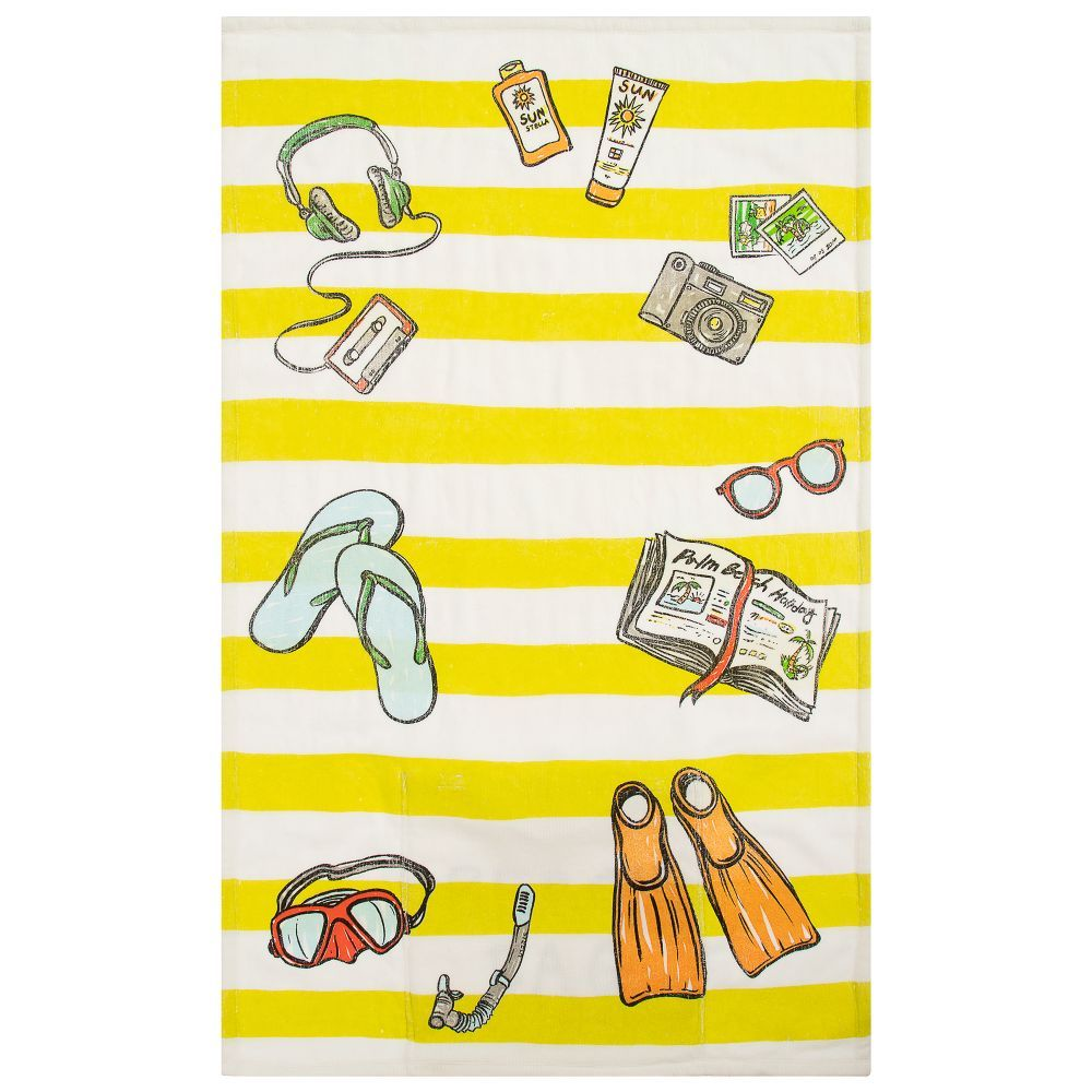 Yellow And White Striped Beach Towel For Girls And Boys From