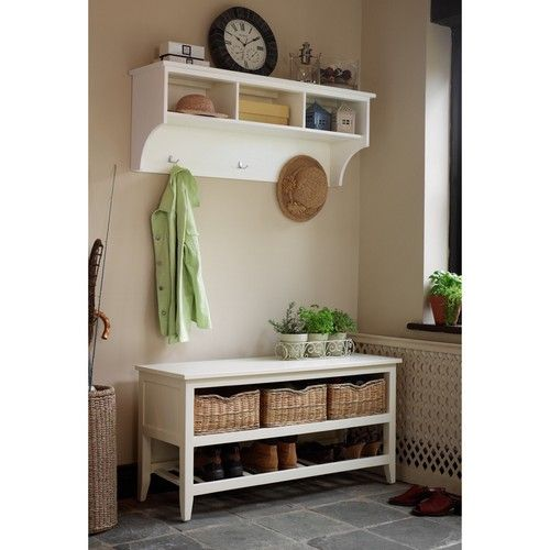 Our Tetbury White Shoe Bench And Storage Shelf For The Hall Only 358 Set