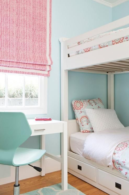 Pink And Sky Blue Girl S Bedroom Features Walls Painted Sky Blue